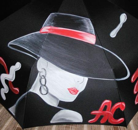 """Зонт с ручной росписью """"Модница"""" ручной работы на заказ"""