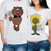 """Парные футболки  для влюбленных """"Ежик и медвежоноК"""""""