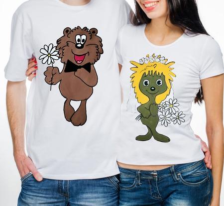 """Парные футболки  для влюбленных """"Ежик и медвежоноК"""" ручной работы на заказ"""