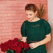 """Платье из мохера лесное, ажурное, зеленое """"Олеся"""""""