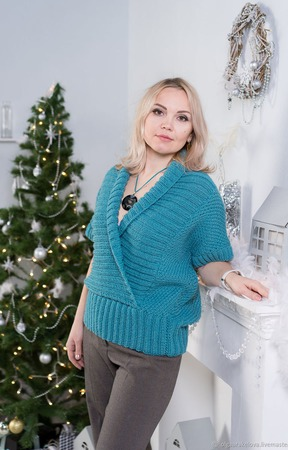 """Пуловер с воротником шалька """"Элен"""" ручной работы на заказ"""