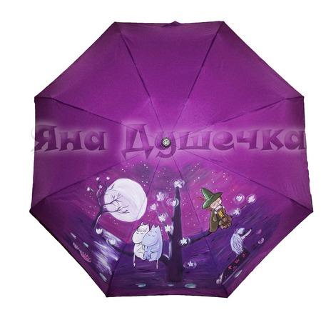 """Зонт с ручной росписью """"Муми тролли при луне"""" ручной работы на заказ"""