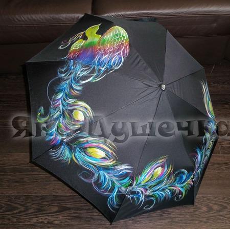 """Зонт с ручной росписью """"Жар-птица"""" ручной работы на заказ"""