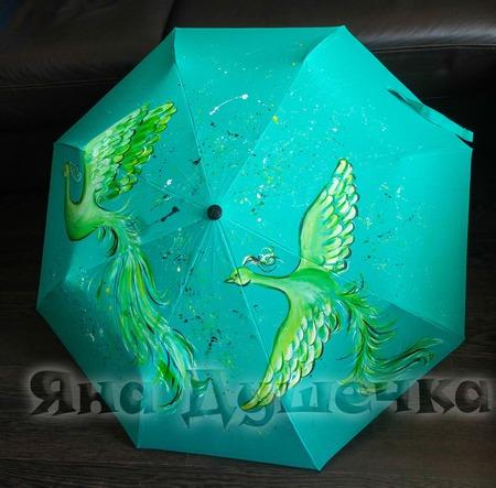 """Зонт мятный  с ручной росписью """"Две жар-птицы"""" ручной работы на заказ"""