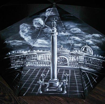 """Зонт с рисунком """"Санкт-Петербург. Дворцовая площадь"""" ручной работы на заказ"""