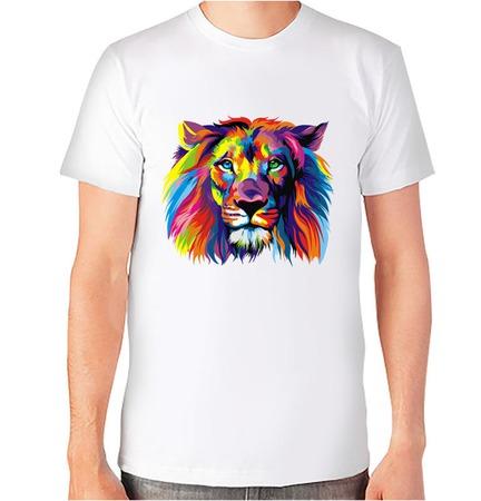 """Футболка с авторским принтом """"Цветной лев"""" ручной работы на заказ"""