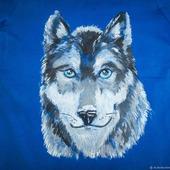 """Футболка с рисунком ручной работы """"Волк"""""""