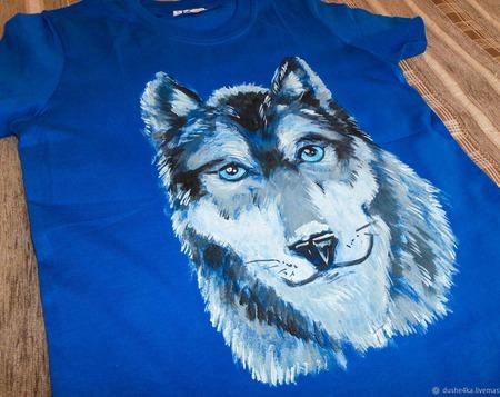 """Футболка с рисунком ручной работы """"Волк"""" ручной работы на заказ"""