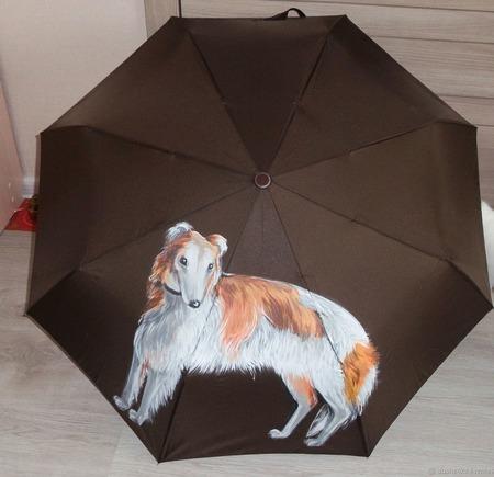 Зонт женский с рисунком Борзая по фото ручной работы на заказ