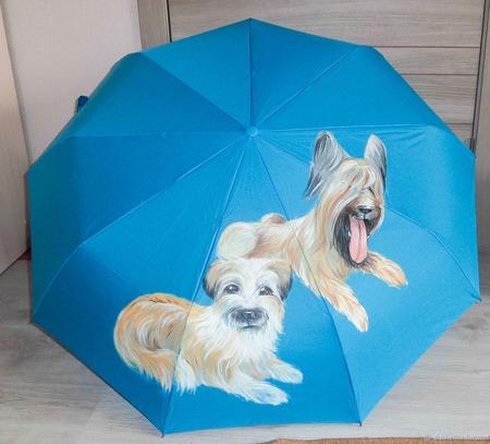 """Зонт женский с рисунком """"Любимцы"""" ручной работы на заказ"""