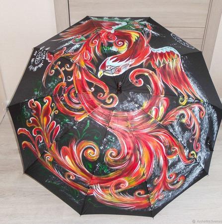 """Зонт женский с рисунком """"Феникс"""" ручной работы на заказ"""