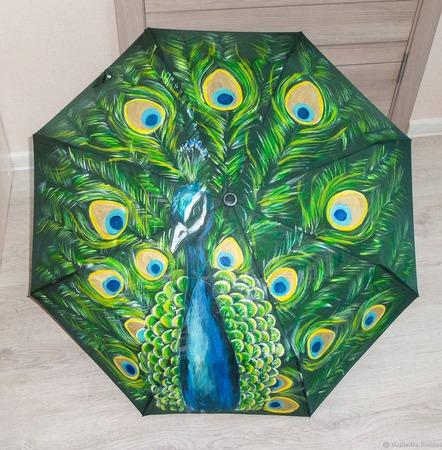 """Зонт женский с рисунком """"Павлин"""" ручной работы на заказ"""