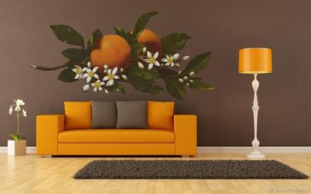 """Роспись стен в гостиной """"Апельсин"""" ручной работы на заказ"""