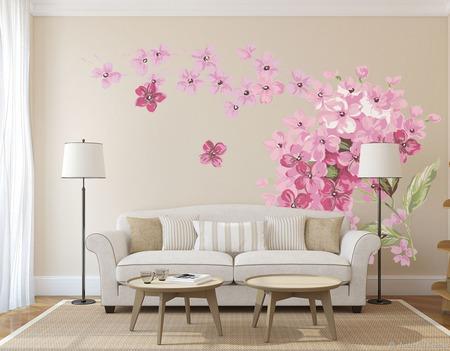 """Роспись стен в гостиной """"Цветы"""" ручной работы на заказ"""