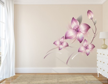 """Роспись стен """"Цветы"""" ручной работы на заказ"""