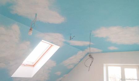 """Роспись потолка """"Небо и облака"""" ручной работы на заказ"""