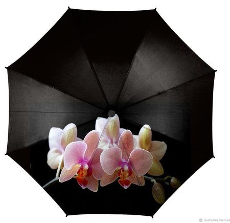 """Зонт женский с рисунком """"Розовые орхидеи"""" ручной работы на заказ"""
