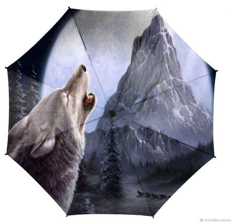 """Зонт складной с рисунком """"Волк и гора"""" ручной работы на заказ"""