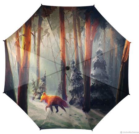 """Зонт женский с рисунком """"Прогулка в лесу. Лиса"""" ручной работы на заказ"""
