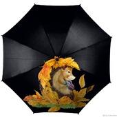 """Зонт женский с рисунком """"Ежик в листьях"""""""