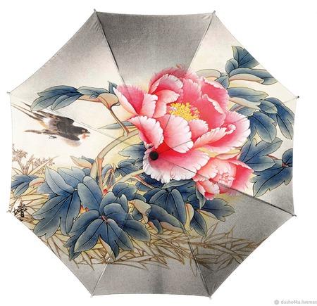 """Зонт ручной работы """"Китайская роза"""" ручной работы на заказ"""