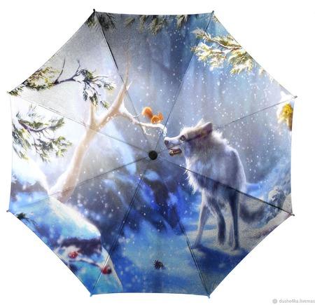 """Зонт женский с рисунком """"Волк и белка"""" ручной работы на заказ"""