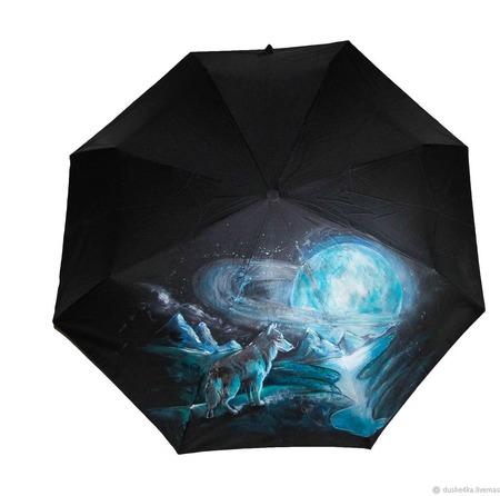 """Зонт ручной работы """"Волк и космос"""" ручной работы на заказ"""