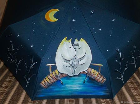 """Зонт женский с рисунком """"Муми Тролли"""" ручной работы на заказ"""