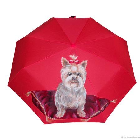 """Зонт женский с рисунком """"Йоркширский терьер"""" ручной работы на заказ"""