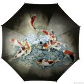 """Зонт с рисунком """"Золотые карпы, приносящие удачу"""""""