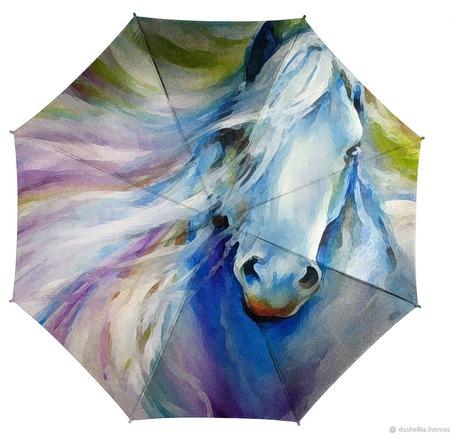 """Зонт женский с рисунком """"Лошадь"""" ручной работы на заказ"""