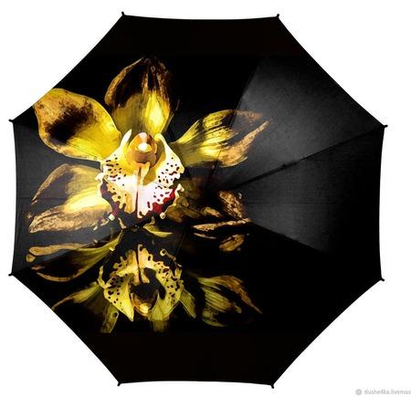 """Зонт женский с росписью """"Желтая орхидея"""" ручной работы на заказ"""