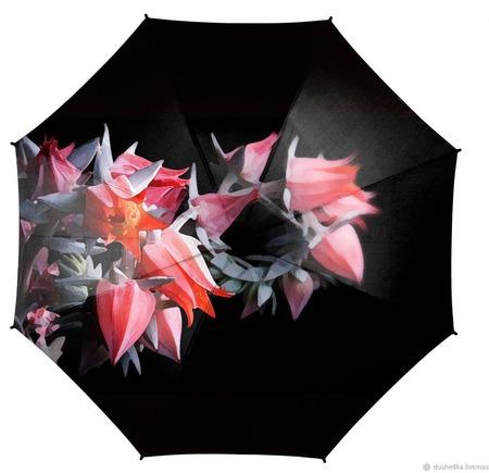 """Зонт женский с росписью """"Магические цветы"""" ручной работы на заказ"""