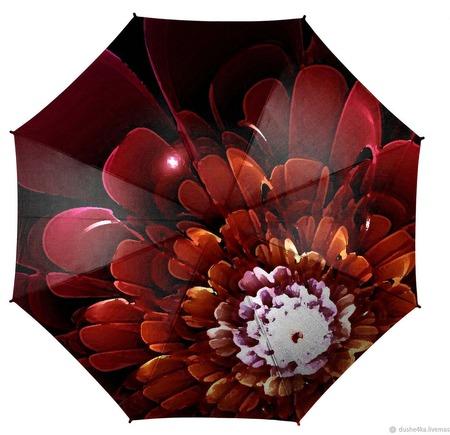 """Зонт женский с росписью """"Бордовое танго"""" ручной работы на заказ"""