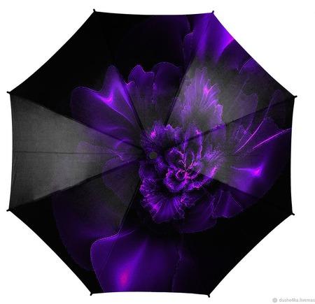 """Зонт с росписью """"Фиолетовое пламя"""" ручной работы на заказ"""