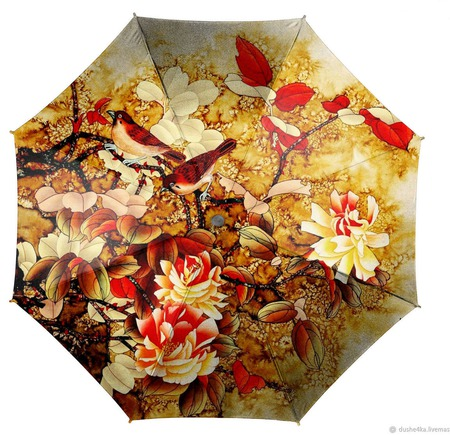 """Зонт женский с росписью """"Китайская живопись"""" ручной работы на заказ"""
