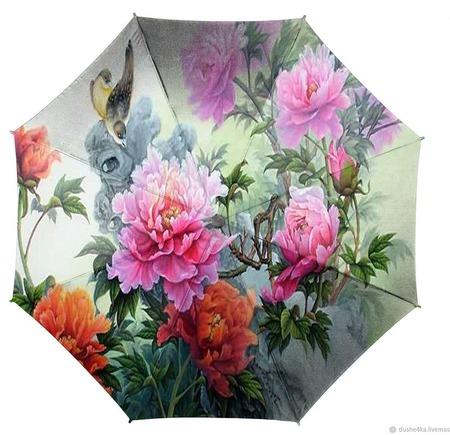 """Зонт женский с ручной росписью """"Пионы"""" ручной работы на заказ"""