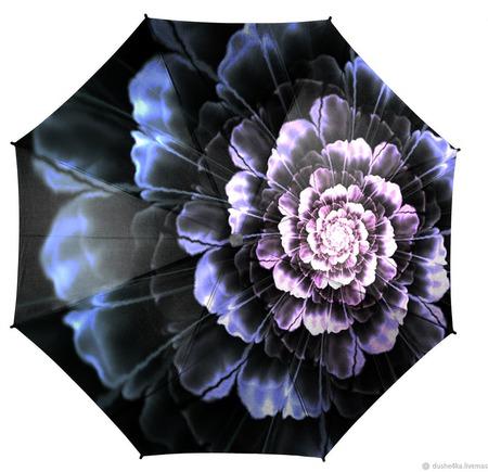 """Зонт с росписью """"Стальной цветок"""" ручной работы на заказ"""