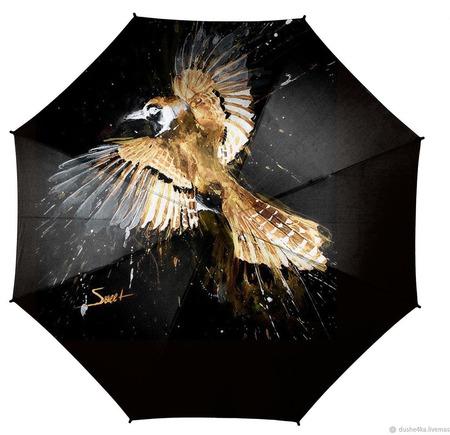 """Зонт с росписью """"Птица"""" ручной работы на заказ"""