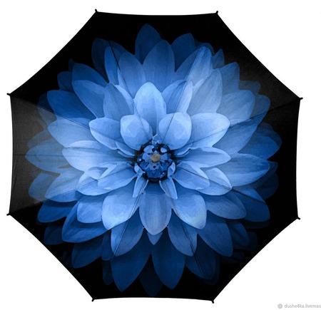 """Зонт с росписью """"Голубой цветок"""" ручной работы на заказ"""