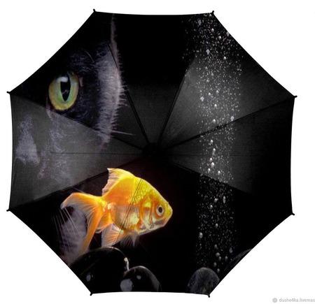 """Зонт с росписью """"Кот и рыбка"""" ручной работы на заказ"""