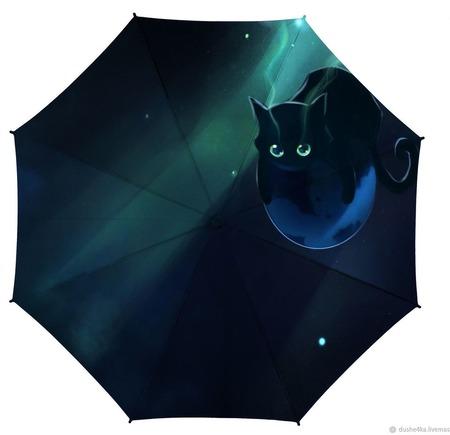 """Зонт с росписью """"Кот в ночи"""" ручной работы на заказ"""