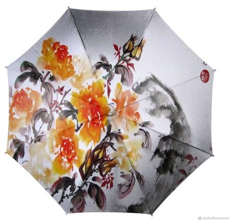"""Зонт с росписью """"Китайская живопись"""" ручной работы на заказ"""