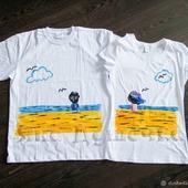 """Парные футболки с росписью """"Двое и море"""""""