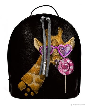 """Рюкзак женский кожаный с ручной росписью из кожи """"Жираф"""" ручной работы на заказ"""