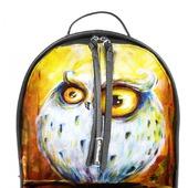 """Рюкзак женский кожаный с ручной росписью из кожи """"Осенняя сова"""""""