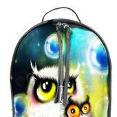 """Рюкзак женский кожаный с ручной росписью из кожи """"Две совы"""""""