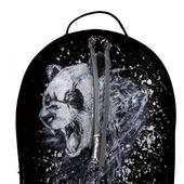 """Рюкзак женский кожаный с ручной росписью из кожи """"Панда"""""""