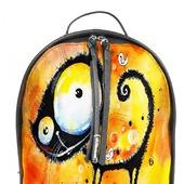 Рюкзак женский кожаный с ручной росписью из кожи Веселый кот