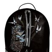 """Рюкзак женский кожаный с ручной росписью из кожи """"Ежик в тумане"""""""